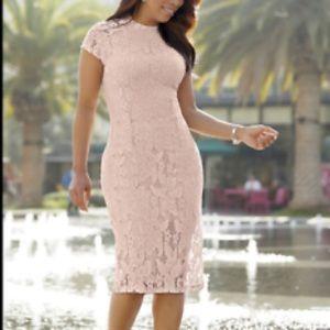 NEW Ashro Lynnelle Blush Pink Lace Dress